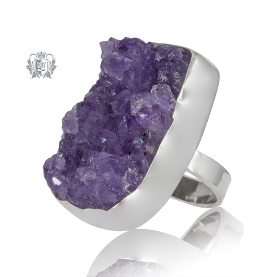 Crystal Geode Amethyst Statement Ring