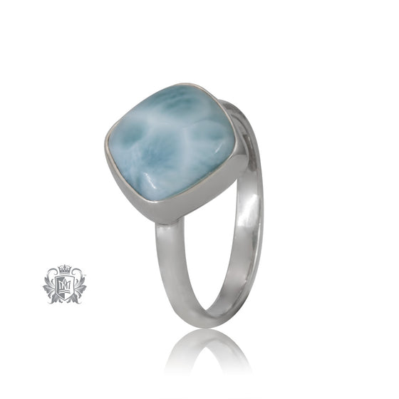 Offset Larimar Ring Sterling Silver One of a Kind