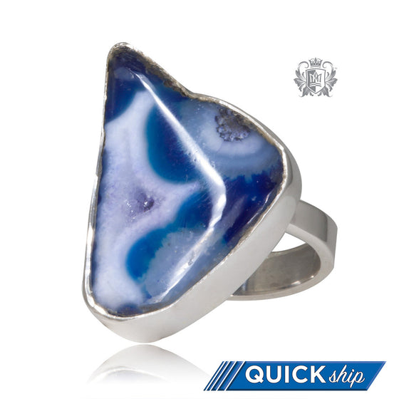 Triangular Denim Agate Ring Metalsmiths Sterling Silver Quick Ship