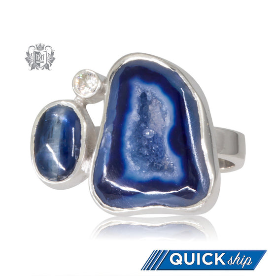 Triple Segmented Denim Agate Ring Metalsmiths Sterling Silver Quick Ship