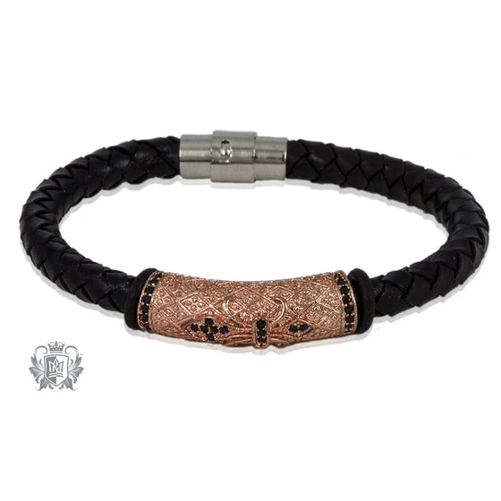 Rose Fleur de Lis Braided Leather Bracelet