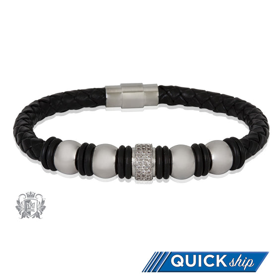 Modern Bead Braided Leather Bracelet Quick Ship