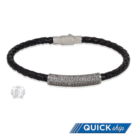 Scrolled Sparkle Bead Braided Leather Bracelet