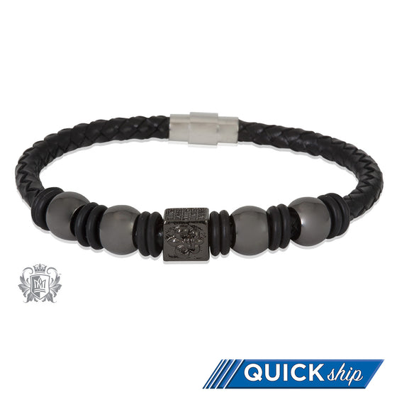 Fleur de Lis Gunmetal Bead Braided Leather Bracelet Quick Ship