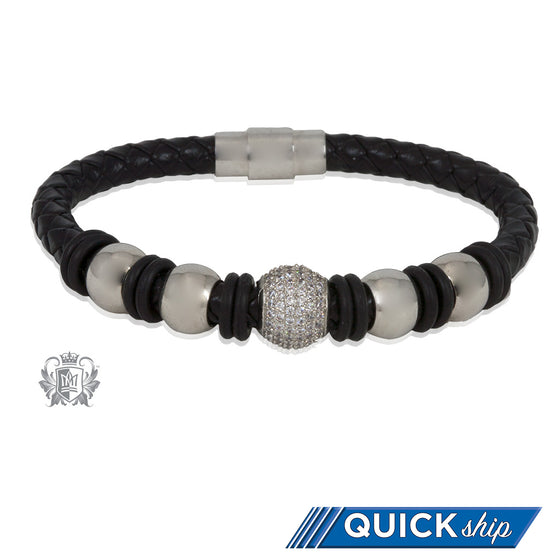 Sparkle Barrel Bead Braided Leather Bracelet Quick Ship