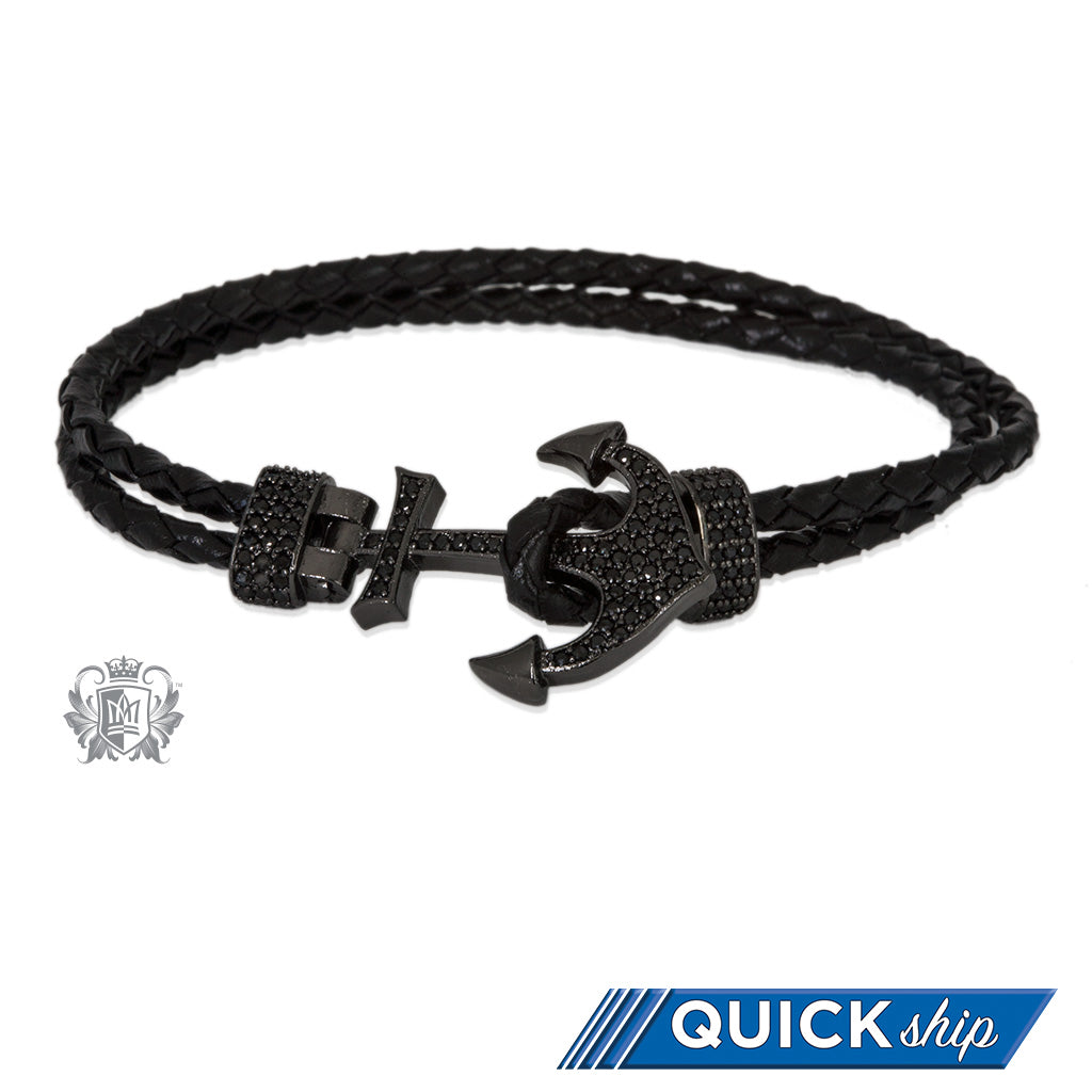 Anchor Clasp Double Braided Leather Bracelet Quick Ship