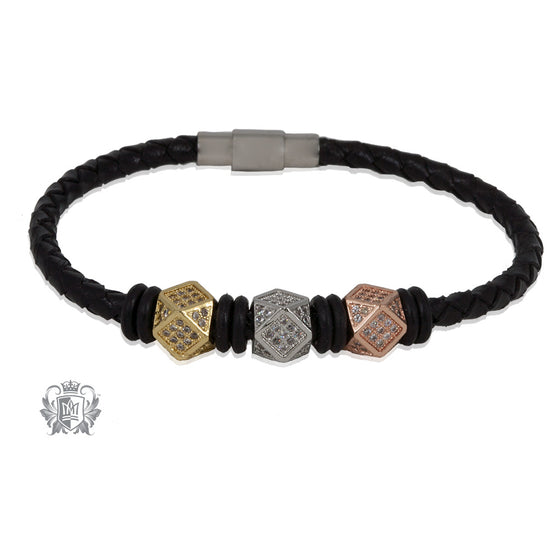 Offset Geometric Bead Braided Leather Bracelet