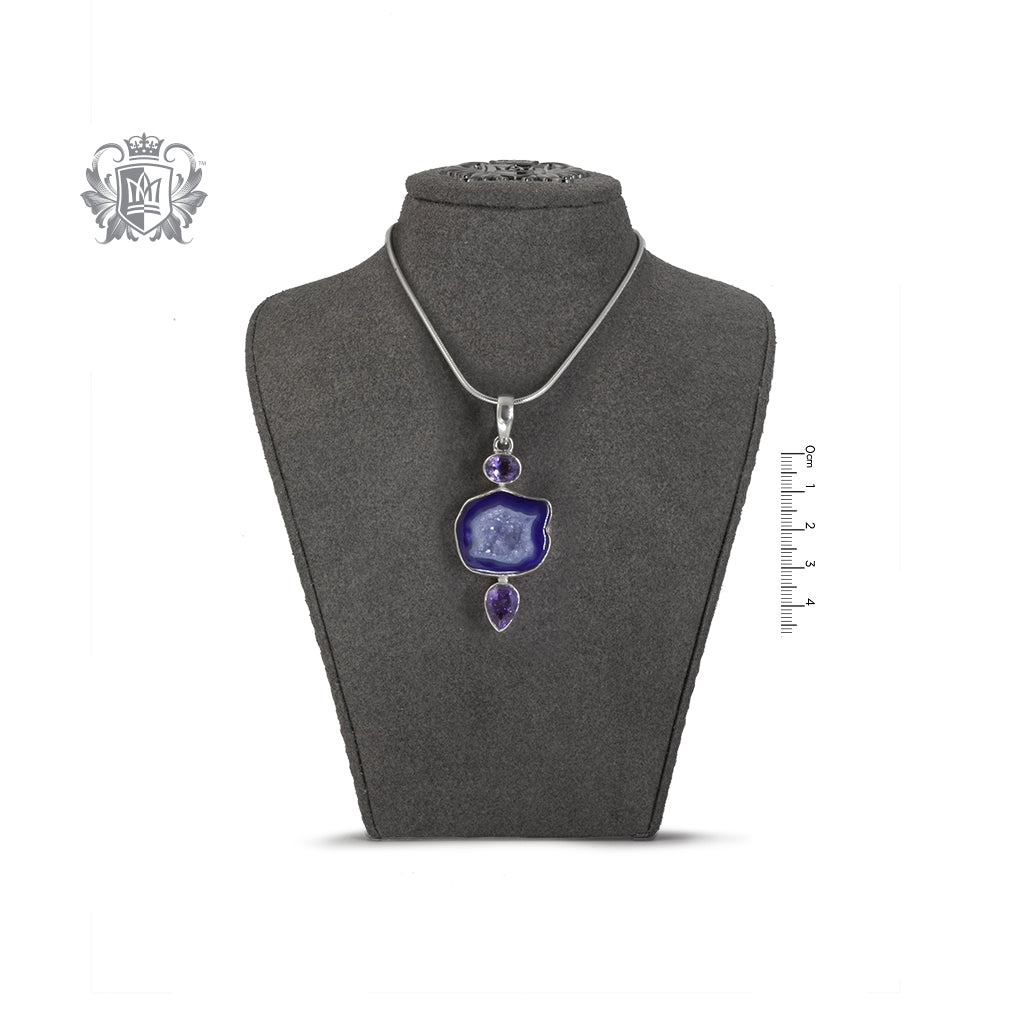 Unique Amethyst Agate Slice with Bezel Set Amethyst Pendant on Bust