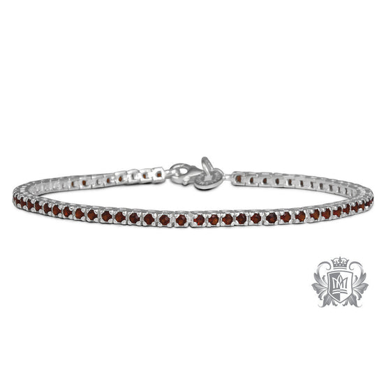 Garnet Cubic Small Prong Set Gemstone Tennis Bracelet Sterling Silver