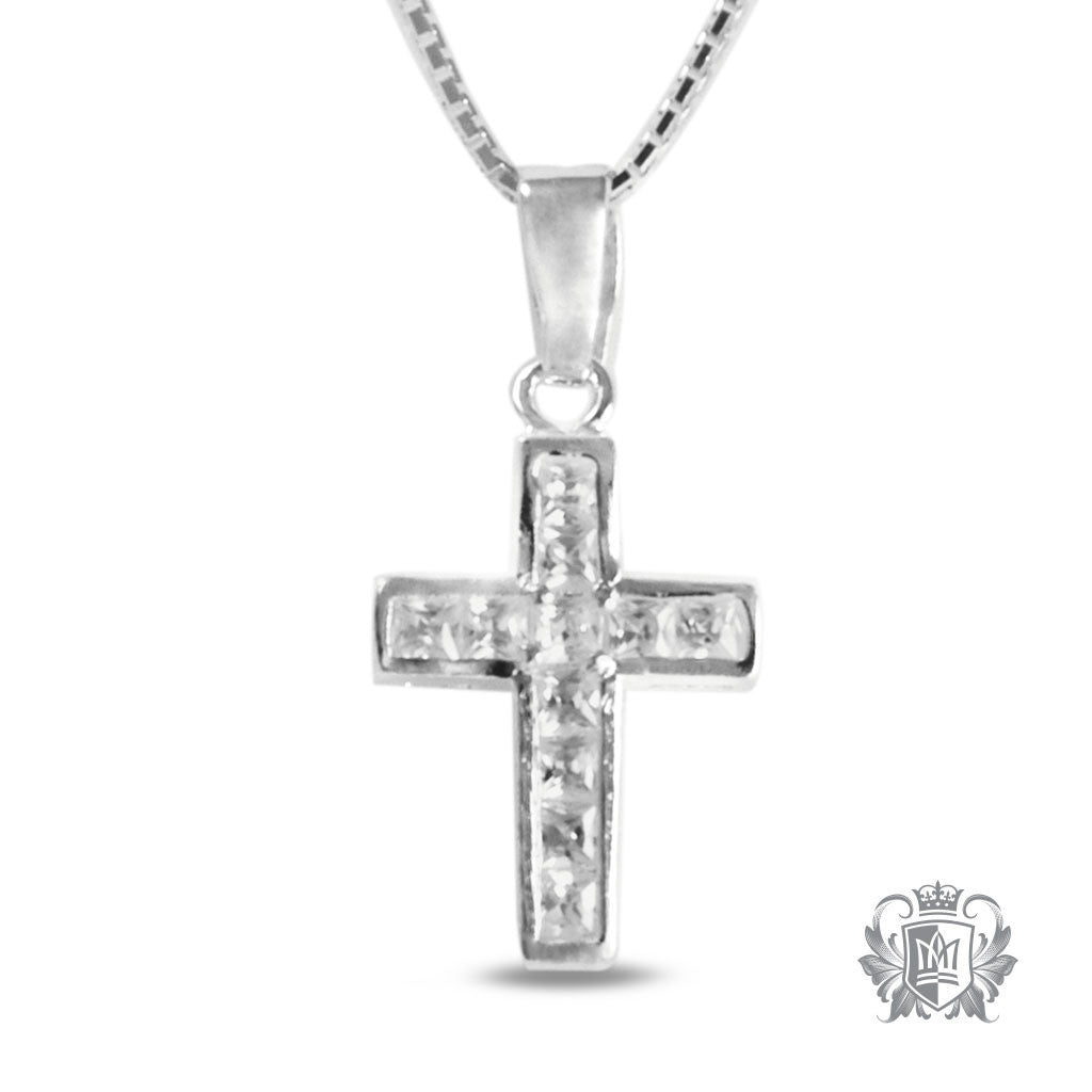 Channel Set Cubic Cross - 18 inch chain Gemstone Pendants - 1