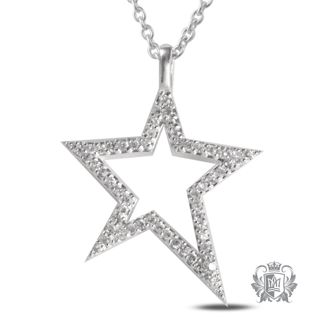 Cubic Pave Star Pendant - 18 inch chain Gemstone Pendants - 1