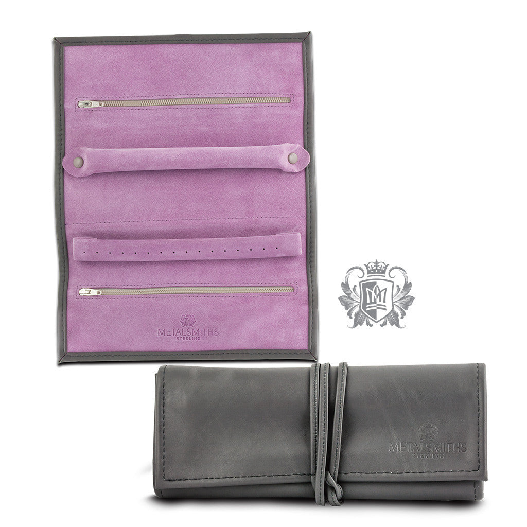 Genuine Leather Travel Jewelry Wallet - both views
