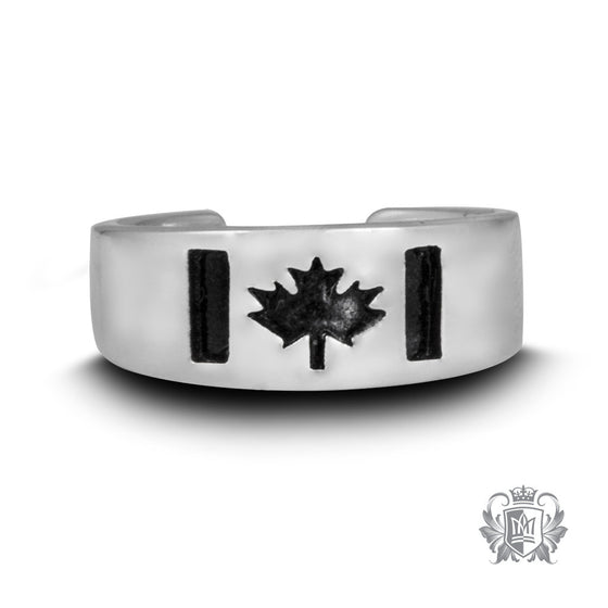 Metalsmiths Sterling Silver Canada Flag Toe Ring - Black
