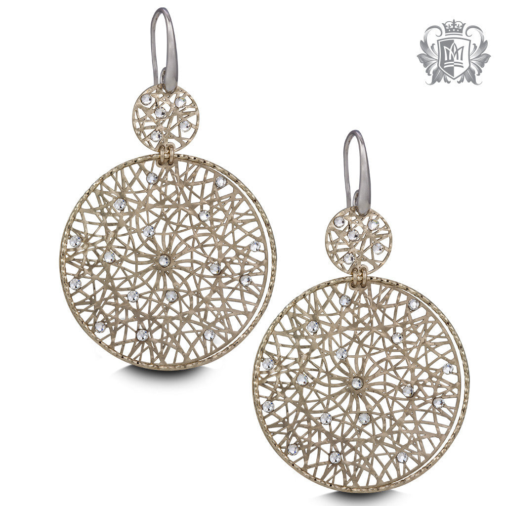 Metalsmiths Sterling Silver Laser Cut Round Cubic Hanger Earrings