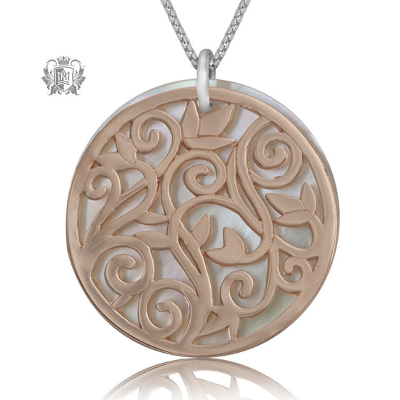 Metalsmiths Sterling Silver Rose Gold Dipped Flower Scroll Pendant