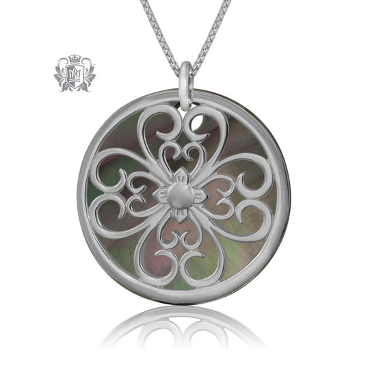 Metalsmiths Sterling Silver Scroll Mother of Pearl Pendant