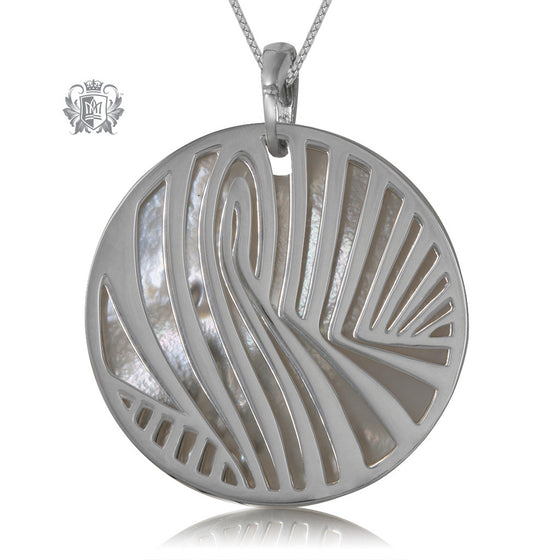 Metalsmiths Sterling Silver Zebra Wave Mother of Pearl Pendant