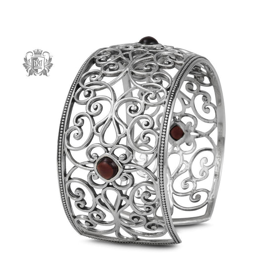 Ornate Bangle with Garnets -  Gemstone Bracelets