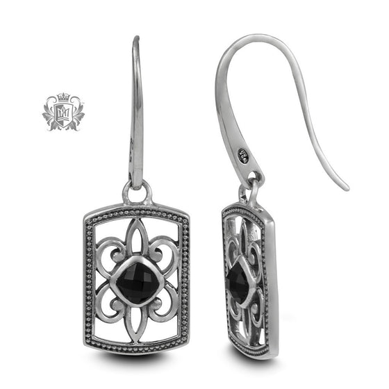 Rectangular Black Onyx Dangle Earrings - Metalsmiths Sterling™ Canada