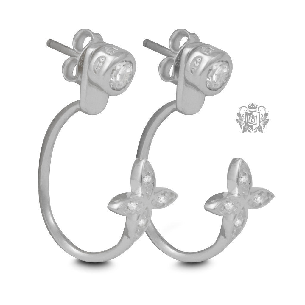 Elongated Hooped Ear Jackets with Dazzling Daisies - Metalsmiths Sterling™ Canada