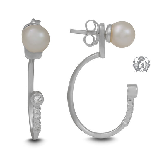 Elongated Hooped Ear Jackets with Freshwater Pearl Studs -  Gemstone Earrings - 1
