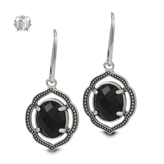 Black Onyx Lotus Dangle Earrings -  Gemstone Earrings