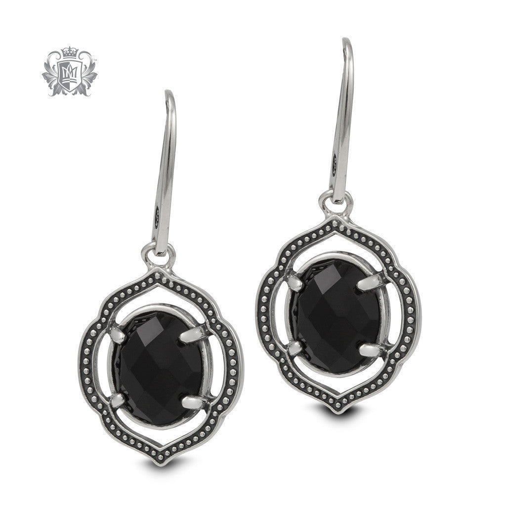 Black Onyx Lotus Dangle Earrings - Metalsmiths Sterling™ Canada