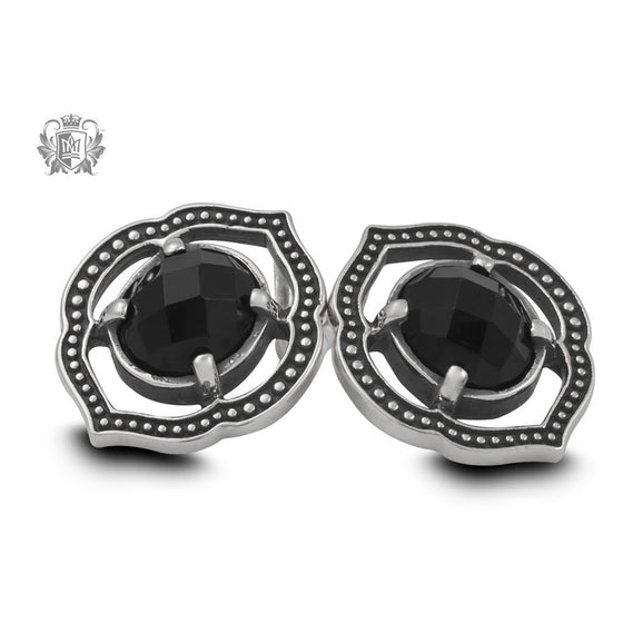 Black Onyx Lotus Stud Earrings -  Gemstone Earrings - 1