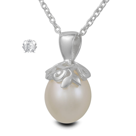 Curlicue Bloom Pearl Pendant - Sample -  Gemstone Pendants