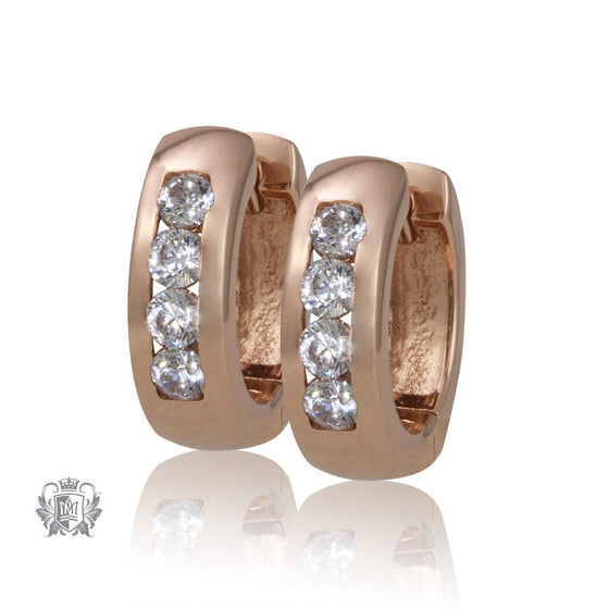 Metalsmiths Sterling Rose Gold Dipped Silver Simple Sparkle Huggies - front