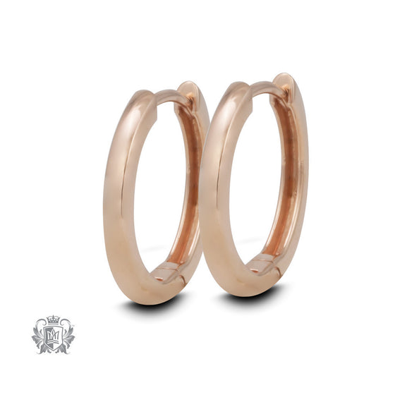 Round Edge Huggies - Two Colours - Rose gold dipped sterling silver Huggie Earrings - 1