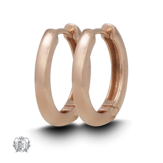 Squared Edge Huggies - Two Colours - Rose gold dipped sterling silver Huggie Earrings - 1