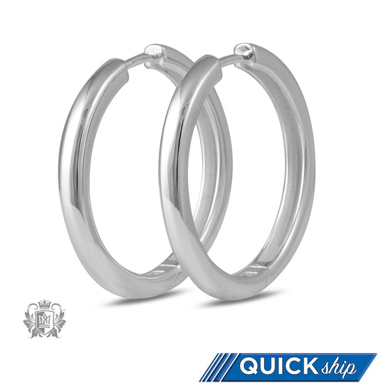 Quick Ship Metalsmiths Sterling Silver Squared Hinged Huggie Earrings