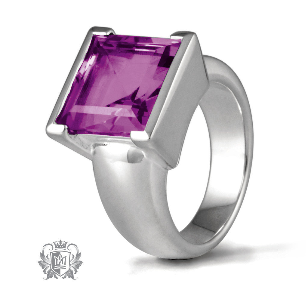 Square Step Cut Bezel Set Ring - Amethyst / Size 6 Gemstone RIngs - 2