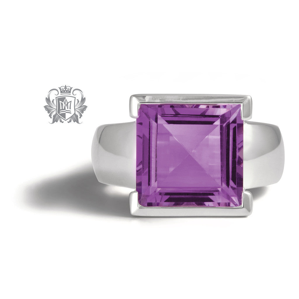 Square Step Cut Bezel Set Ring -  Gemstone RIngs - 3