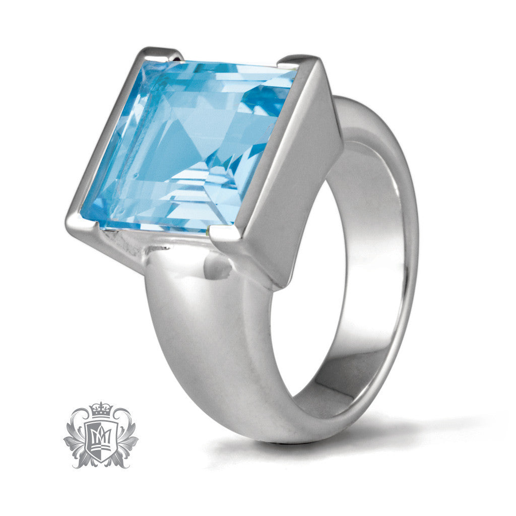 Square Step Cut Bezel Set Ring - Blue Topaz / Size 6 Gemstone RIngs - 1