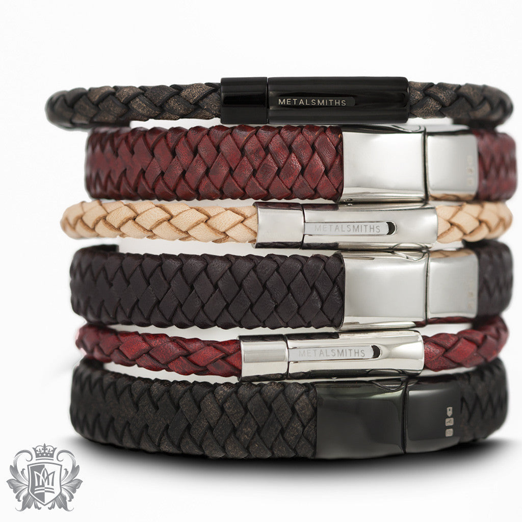 Flat Braided Leather Bracelet with Stainless Steel Clasp -  Bracelets - 5