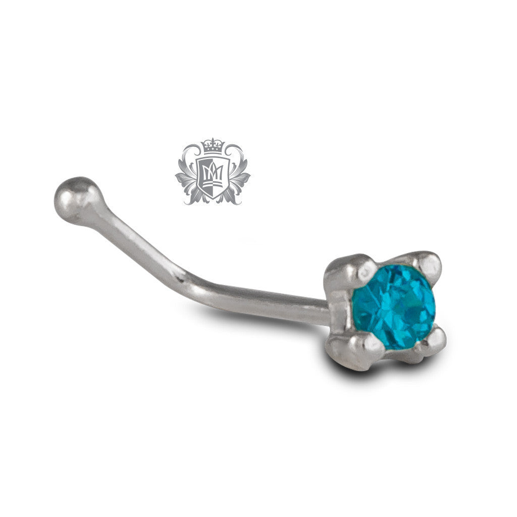 Sparkling Nose Bone Stud - Blue cubic & silver Body Jewelry - 3