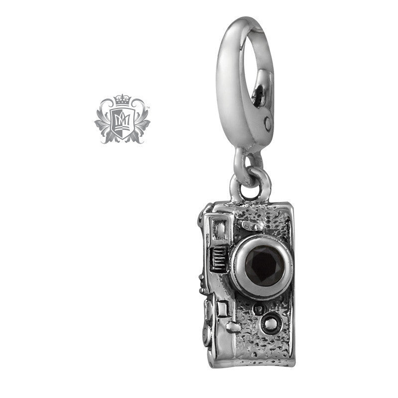 Vintage Camera Charm with Cubic Lens - Black cubic lens Charm - 1