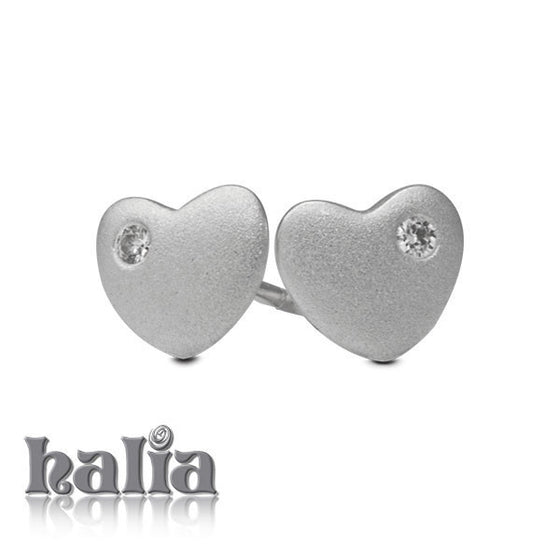 Sparkling Heart Stud Earrings -  Jewelry Earrings