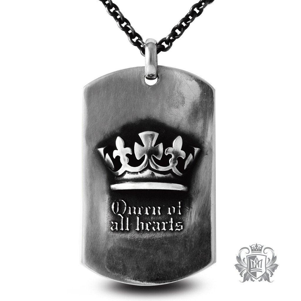Metalsmiths Sterling Silver Tattoo Queen Dog Tag Necklace - front