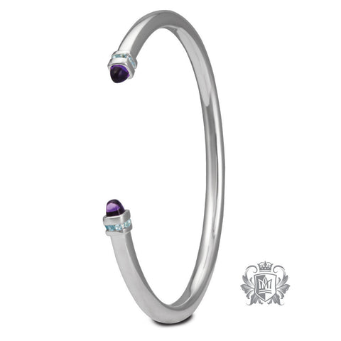 Cabochon End Bangle with Channel Set Accents - Amethyst & Blue Topaz Gemstone Bracelets - 1