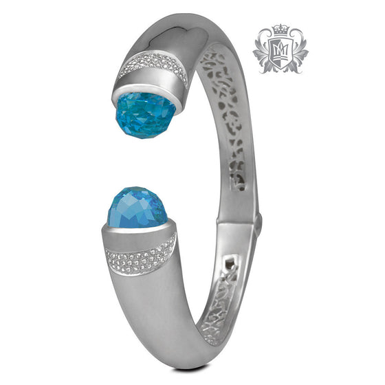 Checker Cut Bullet Bangle with Azure Detailing & Diamond Accents - Blue Topaz Gemstone Bracelets - 1