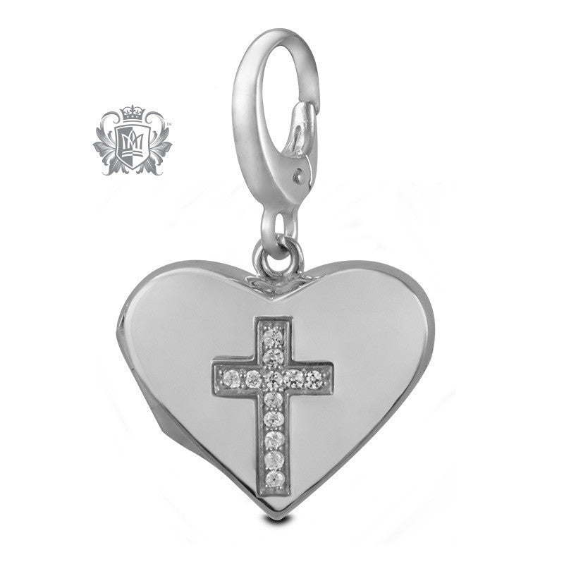 Cross Heart Locket Charm -  Charm - 1