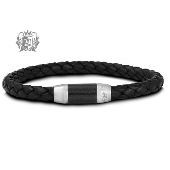 Braided Leather Bracelet with Carbon Fiber Clasp -  Bracelets