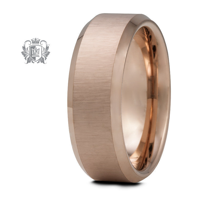Rose Gold Coloured Comfort Fit Tungsten Band (8mm) - Size 9 Tungsten Rings - 1