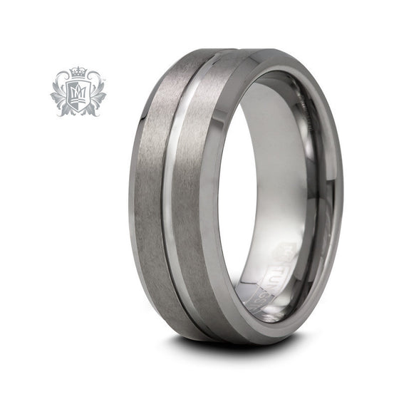 Tungsten Texture Line Band - Size 9 Tungsten Rings