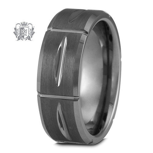 Tungsten Cut Groove Band - Size 9 Tungsten Rings
