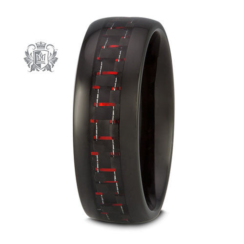 Tungsten Electro Black with Red Carbon Band - Size 9 Tungsten Rings