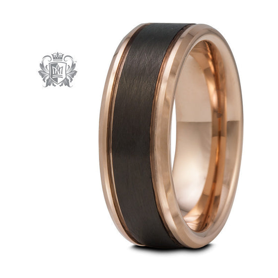 Rose Gold Coloured Tungsten Band with Black Brushed Inlay - Metalsmiths Sterling™ Canada